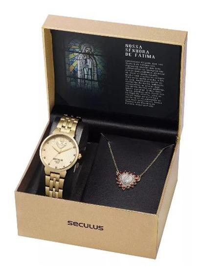 Kit Relógio Seculus Analógico Nsra De Fátima 28823lpskda1k1