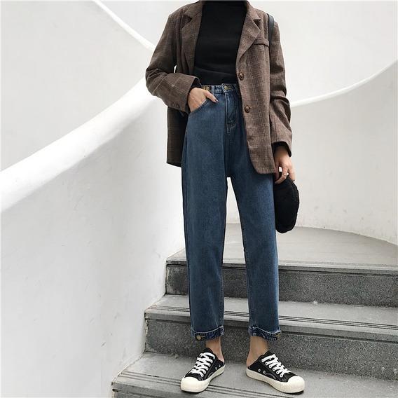 Outono Inverno Novo Solto Algodão Casual Mulheres Jeans Mod