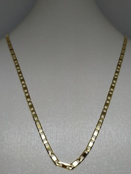 Corrente Piastrini 3mm Largura Ouro 18k 60cm 9.10 Gramas!