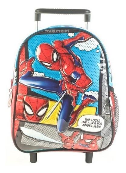 Mochila Con Carro Spiderman 12 Pulgadas Jardin Nene