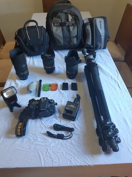 Câmera Nikon D7100 + 3 Lentes + Flash Nikon + Tripé Manfroto