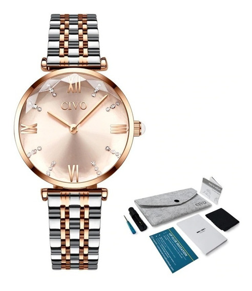 Relógio Feminino Cinta De Aço Ouro Rosa De Luxo Lindo