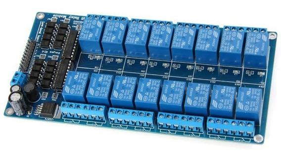 Módulo Relé 16canais 12v Optoacoplador Pcl Clp Arduino C101