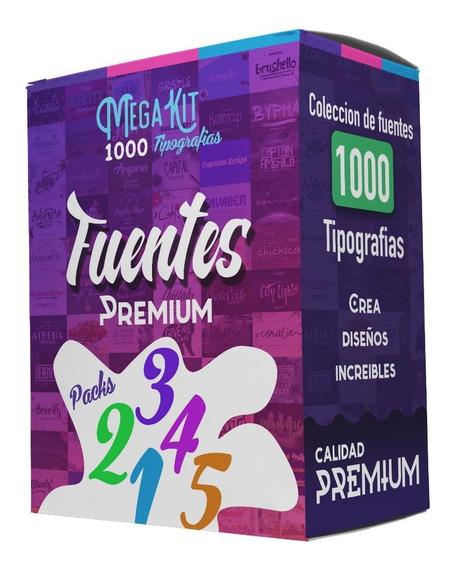 Megakit Pack Vol 1 Al 5 - 1000 Tipografias Fuentes P Diseños