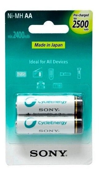 2 Pilhas Aa Recarregável Sony 2500mah Original + Nota Fiscal