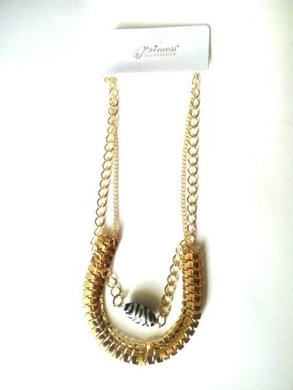 Collar De Metal Dorado Con Piedra Animal Print Retro