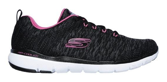 Skechers Zapatillas Running Mujer Flex Appeal 3.0 Neg- Rosa