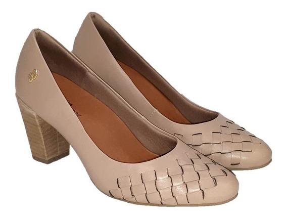 Sapato Scarpin Feminino Usaflex Ab8407 Bege Claro