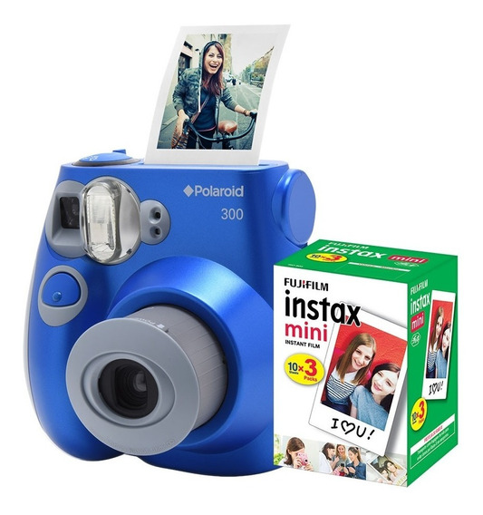 Câmera Polaroid Instantânea Pic 300 Azul C/ Filme 30 Poses