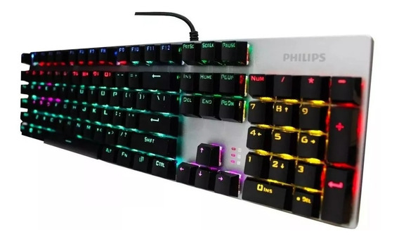 Teclado Mecanico Game Philips Luminoso Colorido Com Fio Usb