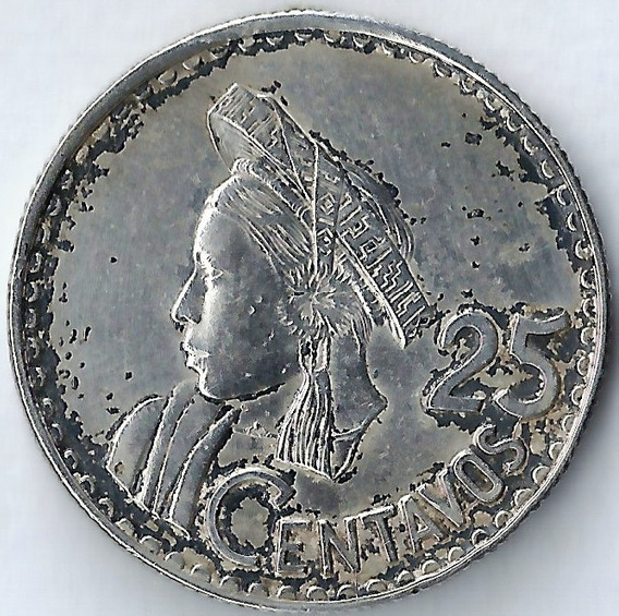Guatemala 1960 25 Centavos Plata Solo 500mil Acuñadas Xx4018