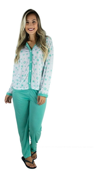Kit 2 Pijamas Longo Adulto Feminino Blusa Aberta Botões