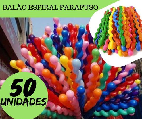 Balão Espiral Parafuso Festa Decoração Bexiga Curvo Kit 50