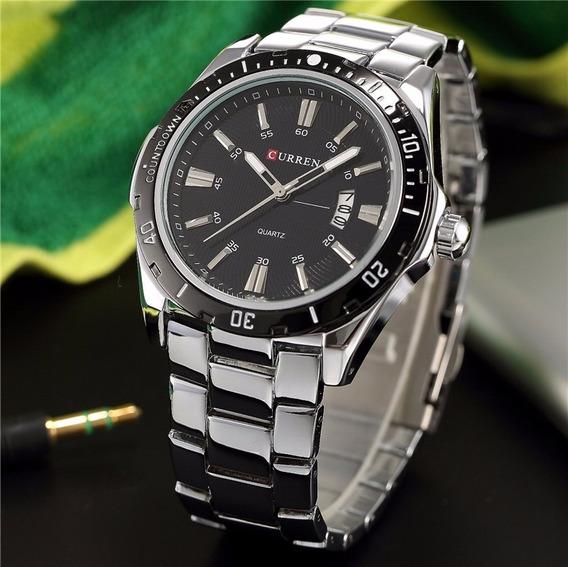 Relógio De Luxo Curren Aço Inoxidável Strap Analógico