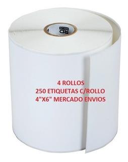 Mercado Envios Etiqueta Termica 4x6 Rollo 4 De 250 Zebra