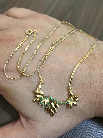 Colar Feminino Ouro 18k 750 Com Esmeraldas Exclusivo