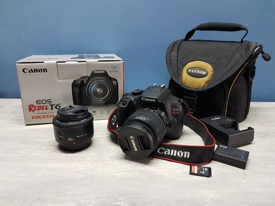 Canon T6 + Bolsa + 2 Lentes + Cartão 32gb + Frete Gratis