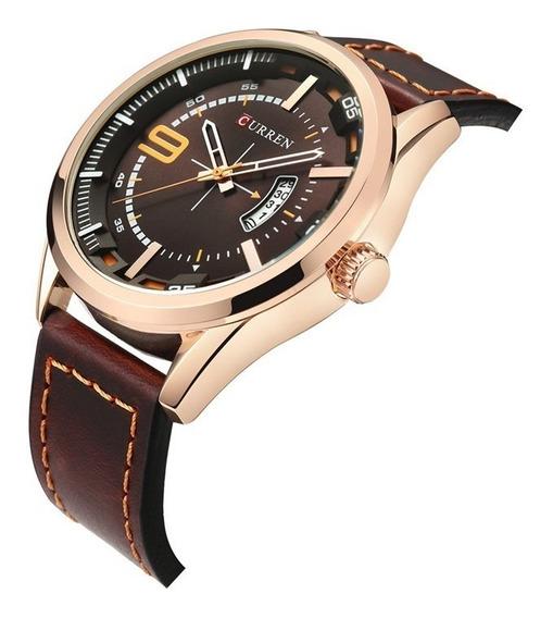 Relógio Masculino Original Curren Pulseira Em Couro Dourado