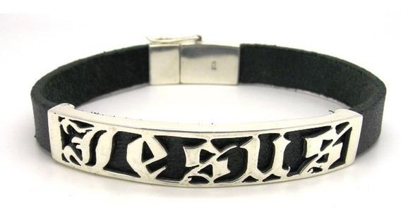 Bracelete Pulseira Prata De Lei 925 E Couro Modelo Jesus
