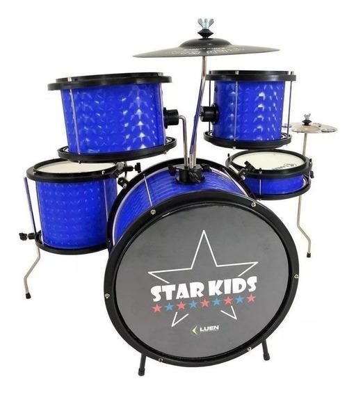 Bateria Infantil Star Kids Completa Azul Luen