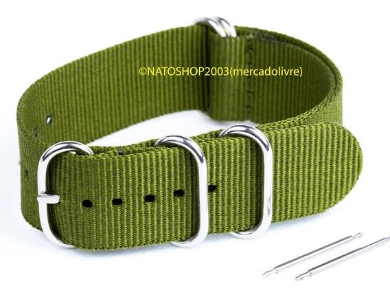 Pulseira Relógio Nato Zulu Nylon 18mm Verde Oliva 5 Anéis