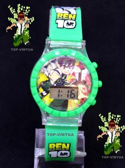 Relógio Ben10 3d Digital Verde Com Som Luzes Infantil