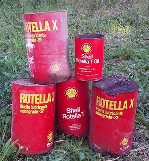 Lote De Antiguas Latas De Shell Rotella X Y Rotella T Vacias