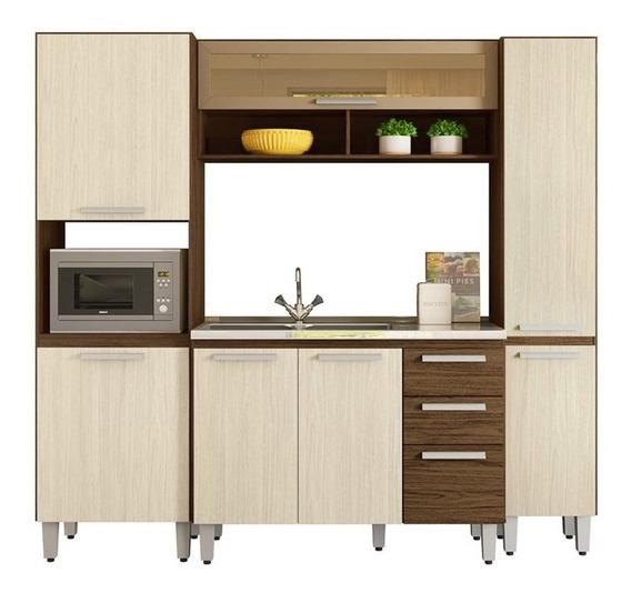 Cozinha Modulada Niterói 4 Módulos Composição 5 Castanho/bau