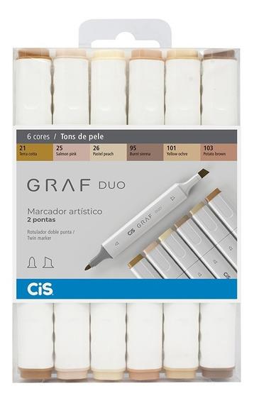 Marcador Cis Graf Duo Permanente Tons De Pele C/6 Cores