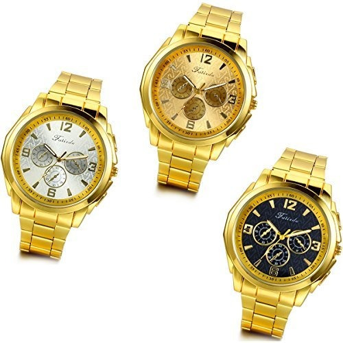 Lancardo Luxury Mens Gold Tone Pulsera Relojes Con Bolsa De
