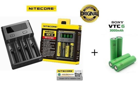 Carregador Digital Niticore New I4 + 4 Baterias Vtc6 Sony