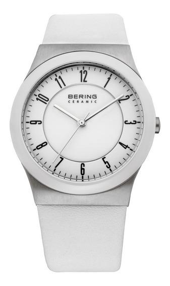 Relógio Bering Unisex Ceramica Pulseira Couro Novo Branco