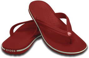 Sandalia Crocs Caballero Crocband Flip Rojo/blanco