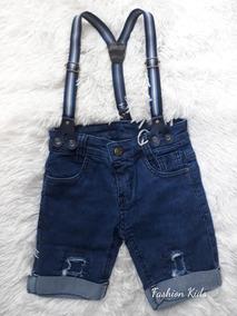 Bermuda Short Bebê Jeans Escuro Com Suspensório 1 À 3 Anos