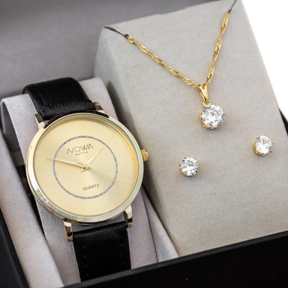 Relógio Nowa Feminino Dourado Couro Nw1409k + Kit Brinde