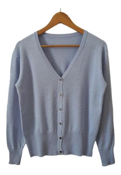 Saco De Hilo Y Lycra Calado - Saquito Sweater Mujer