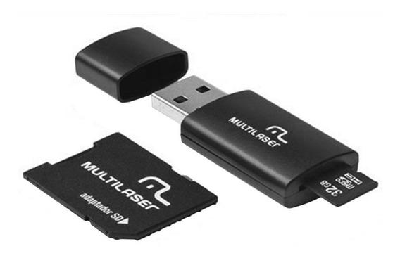 Cartão Microsd 32gb 3 X 1 Pendrive Usb 2.0 Mc113 Multilaser