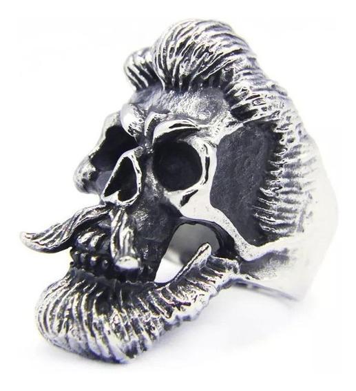 Anel Aço Inoxidavel Caveira Cranio Roqueiro Estilo Moda