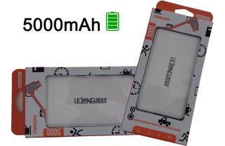Power Bank Bateria Externa 5000mah Cabo V8 E iPhone Embutido