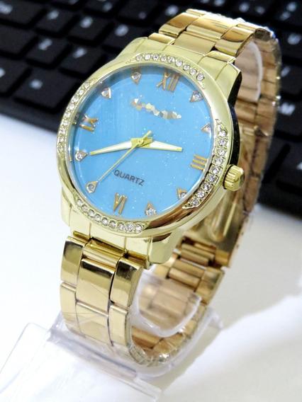 Relógio Feminino Dourado Aço Confortável Gold Original C198