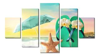 Kit Quadro Decorativo 5 Partes Estrela E Sandalia Na Praia