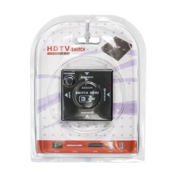 Hub Switch Hdmi 1x3 Portas Hdmi Exbom