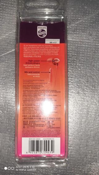 Fone De Ouvido Int Philips Estéreo Vermelho Celular Mp3 Mp4
