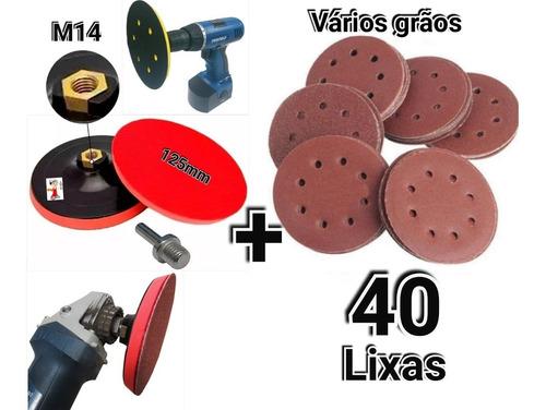 Suporte Boina Furadeira Esmerilhadeira + 40 Disco Lixa 125mm