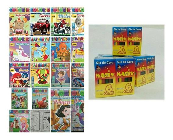 Kit 50 Revistas De Colorir + 50 Caixas De Giz De Cera