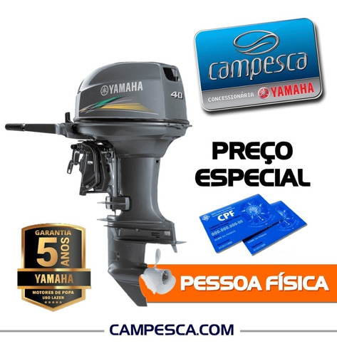 Motor Popa Yamaha 2 Tempos 40hp Amhs 2021 Zero Campesca