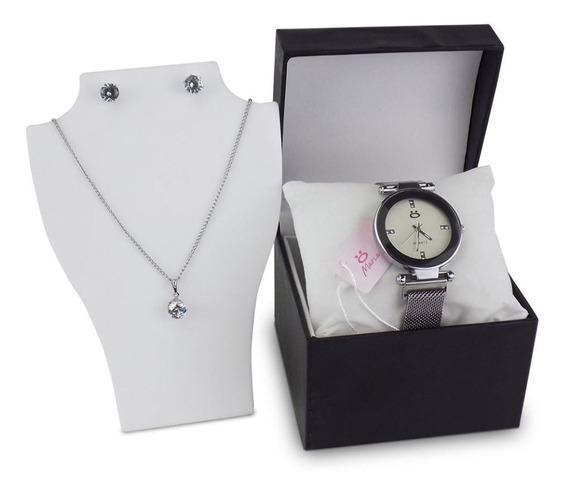 Kit Relógio Feminino Colar Brinco Pulseira Magnética - Rmm17