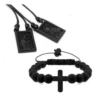 Escapulário Masculino Feminino + Pulseira Bolinhas Crucifixo