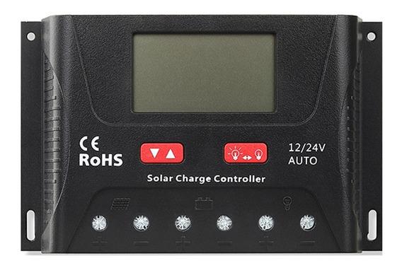 Controlador De Carga Solar Pwm 40a 12/24v Lcd Usb Para Baterias De Gel/selada/inundada/lítio
