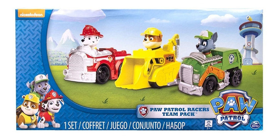 Paw Patrol 3pk Rescue Racers Marshall Rubble Rocky Original